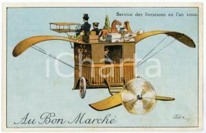 1910 ca AU BON MARCHÉ Service de livraisons en l'an 2000 Carte postale ILLUSTRÉE