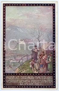 1920ca IM ZEICHEN DER RELIGION Vertriebenen protestanten - Ernst KUTZER Postcard