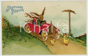 1910 ca JOYEUSES PÂQUES Rabbit on car with Easter eggs *Anthropomorphic postcard