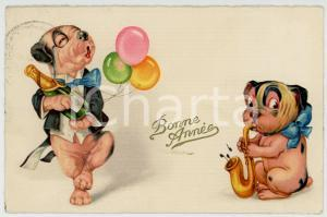 1930 BONNE ANNEE New Year's party - Dogs with champagne and balloons - Postcard