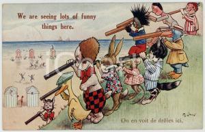 1923 Artist F. G. LEWIN Animals with spyglass ANTHROPOMORPHIC Postcard FP VG