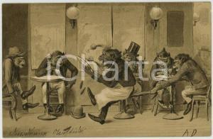 1910 ca ANIMALS Monkeys at the bar ANTHROPOMORPHIC Embossed Postcard FP VG