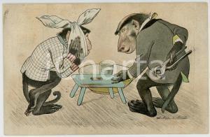 1905 Artist Lothar MEGGENDORFER Monkey at the dentist ANTHROPOMORPHIC Postcard
