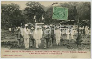 1908 GUINEE Chemin de fer - Ministre des Colonies en visite aux chantiers