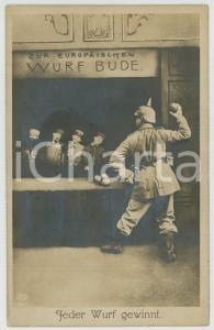 1915 ca WW1 GERMANY - Feder Wurf gewinnt - Photomontage -  Postcard