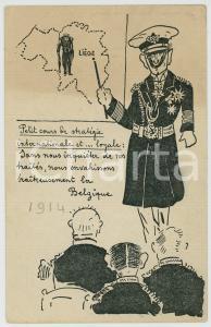 1914 WW1 - BELGIQUE- SATIRE Petit cours de stratégie ILLUSTRATED Postcard FP NV