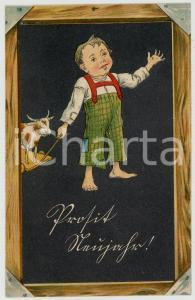 1906 CHILDREN Boy with toy cow ILLUSTRATED Postcard FP VG