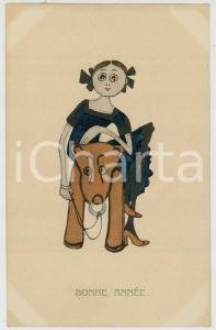 1910 ca BONNE ANNEE Little girl on horse toy - Postcard ill. H. CHRIST