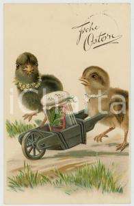 1927 FROHE OSTERN Ducks pushing wheelbarrow with frog inside - Vintage postcard