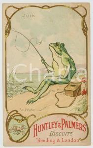 1910 ca HUNTLEY & PALMERS BISCUITS La Pêche - Frog fishman *Advertising postcard