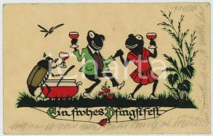 1931 FROHES PFINGSTEN Frogs and beetle having party *Anthropomorphic postcard