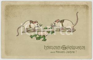 1907 NEUEN JAHRE Frog and white mice *Anthropomorphic embossed postcard