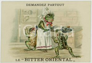 1910 ca BITTER ORIENTAL Family frog lunch *Anthropomorphic advertising postcard