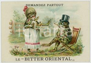 1910 ca BITTER ORIENTAL Family frog - Anthropomorphic advertising card
