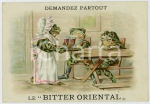 1910 ca BITTER ORIENTAL Frogs drinking - Anthropomorphic advertising card