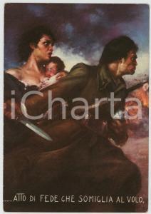 1936 WW2 OMS Atto di fede che somiglia al volo - Ill. Clemente TAFURI Cartolina