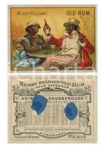1890ca MERRY FELLOWS OLD RUM Calendrier de poche 12x9 cm DAMAGED