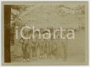 1920 ca BELGIAN CONGO Young girls in a village - Photo ETHNIC NUDE 12x9 cm