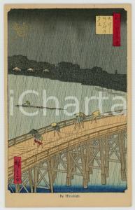 1910 ca JAPAN UKIYO-E Artist HIROSHIGE - Rain on a bridge *Illustrated MENU card