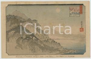 1910 ca JAPAN Artist HIROSHIGE Moonlight on Iahiyama - Lake Biwa *Postcard