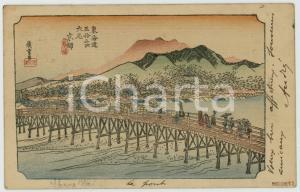 1907 JAPAN UKIYO-E Artist HIROSHIGE Bridge scene - Postcard