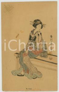 1910 ca JAPAN UKIYO-E Artist Kikukawa EIZAN - Woman seated - MENU card