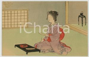 1910 ca JAPAN UKIYO-E Woman geisha reading - Illustrated MENU card