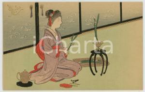 1910 ca JAPAN UKIYO-E Woman geisha arranging flowers - Illustrated MENU card
