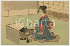 1910 ca JAPAN UKIYO-E Geisha tea ceremony - Illustrated MENU card
