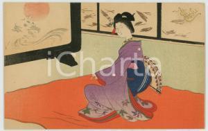 1910 ca JAPAN UKIYO-E Geisha dancing with a fan  - Illustrated card