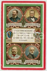 1911 Cinquantenario Unità d'Italia - Protagonisti RISORGIMENTO *Cartolina