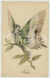 1915 ca WW1 ITALIE as a butterfly woman - Postcard PROPAGANDA L. Géligné