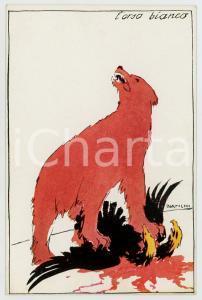 1914 WW1 ITALIA Artista Alberto BIANCHI - L'orso bianco ^Cartolina PROPAGANDA