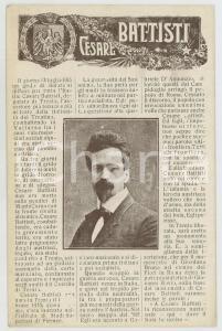 1920 ca WW1 - IRREDENTISMO In memoria di Cesare BATTISTI Cartolina FP NV