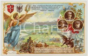 1920 ca WW1 - IRREDENTISMO Vittorio Emanuele III - Armando DIAZ Cartolina FP NV