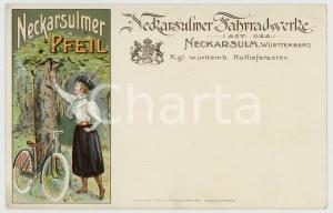 1900 ca NECKARSULM Fahrradwerke - Pfeil - Postcard vintage adv BICYCLES