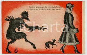 1910 ca POLAND - DEVILS - Uciekaj panienko, bo cie diabel goni - Old postcard