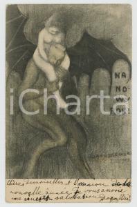 1908 POLAND - NEW YEAR - Devil and nude woman - Postcard ill. J. JARUSZEWSKI