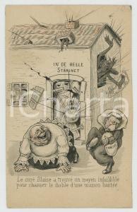 1910 ca HUMOUR Le curé Blaise chasse le diable d'une maison - Postcard