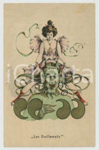 1900 ca DEVILS - DIABLES - Les Guillemets - Diable avec femme *Postcard