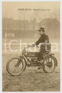 1915 ca WW1 ARMÉE BELGE Estafette motocycliste - Carte postale vintage