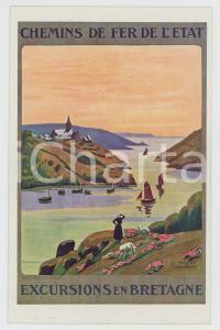 1910ca CHEMIN DE FER DE L'ÉTAT Excursions en Bretagne - Carte postale FP NV