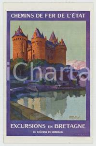 1910 CHEMIN DE FER DE L'ÉTAT Excursions en BRETAGNE Chateau de Combourg Postcard
