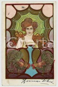 1902 ART NOUVEAU Artist Angel KIESZKOW - Woman - web - cocks - Glitter Postcard