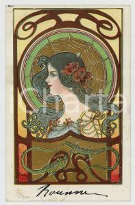 1902 ART NOUVEAU Artist Angel KIESZKOW - Woman - web - wizards *Glitter Postcard