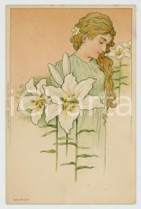 1901 ART NOUVEAU Artist Carl BAUM - Lady with lilies - Postcard