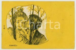 1900 ca FRANCE LOVERS - Couple - Fiancés! - Yellow vintage postcard