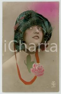 1920 ca REAL PEACOCK FEATHERS old postcard - Portrait of woman - Postcard FP VG