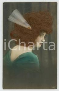 1920 ca REAL HAIR old postcard - Woman wearing a white hair decoration - FP NV