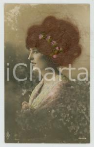 1920 ca REAL HAIR old postcard - Woman wearing a floral hair decoration - FP NV